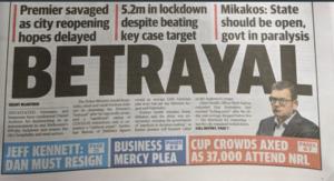 Herald Sun headline Betrayal