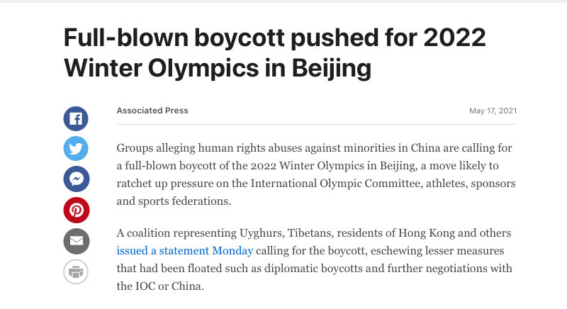 Beijing winter olympics boycott