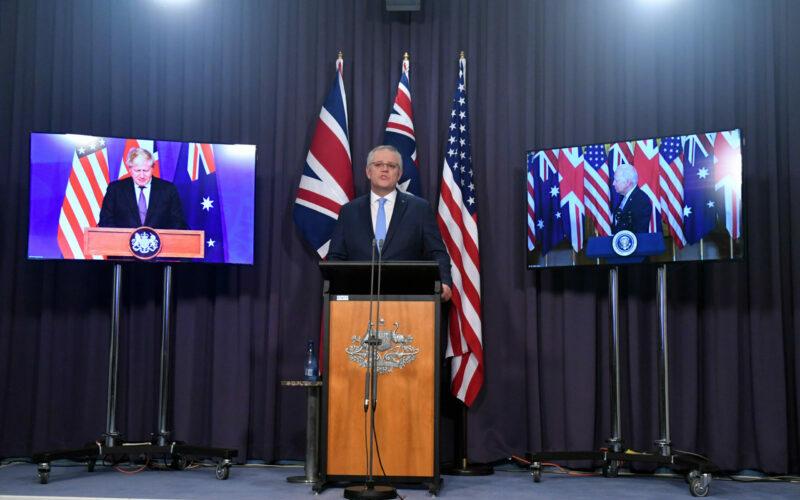 Scott Morrison nuclear submarine announcement uk us AUKUS