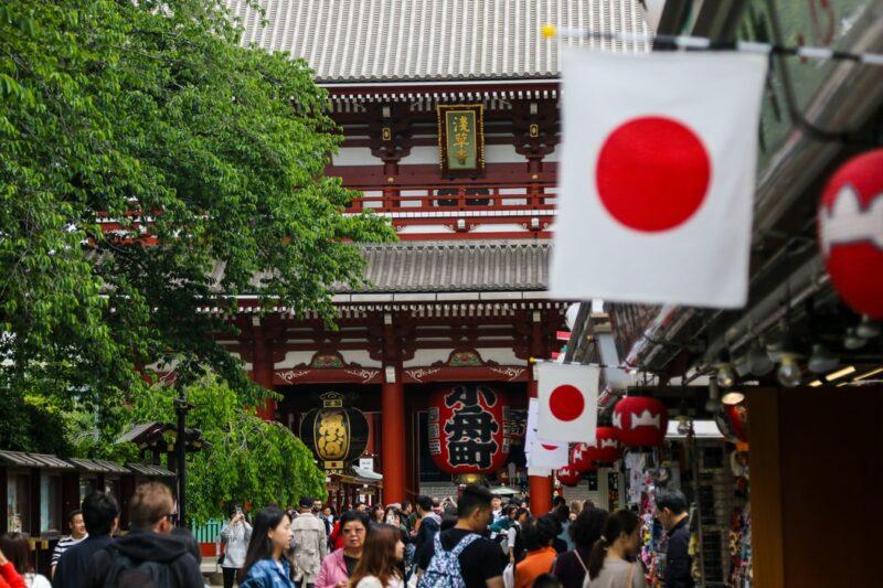 japan flag temple