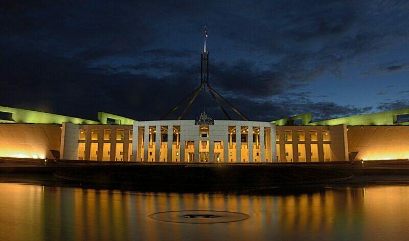 parliament house canberra politics night